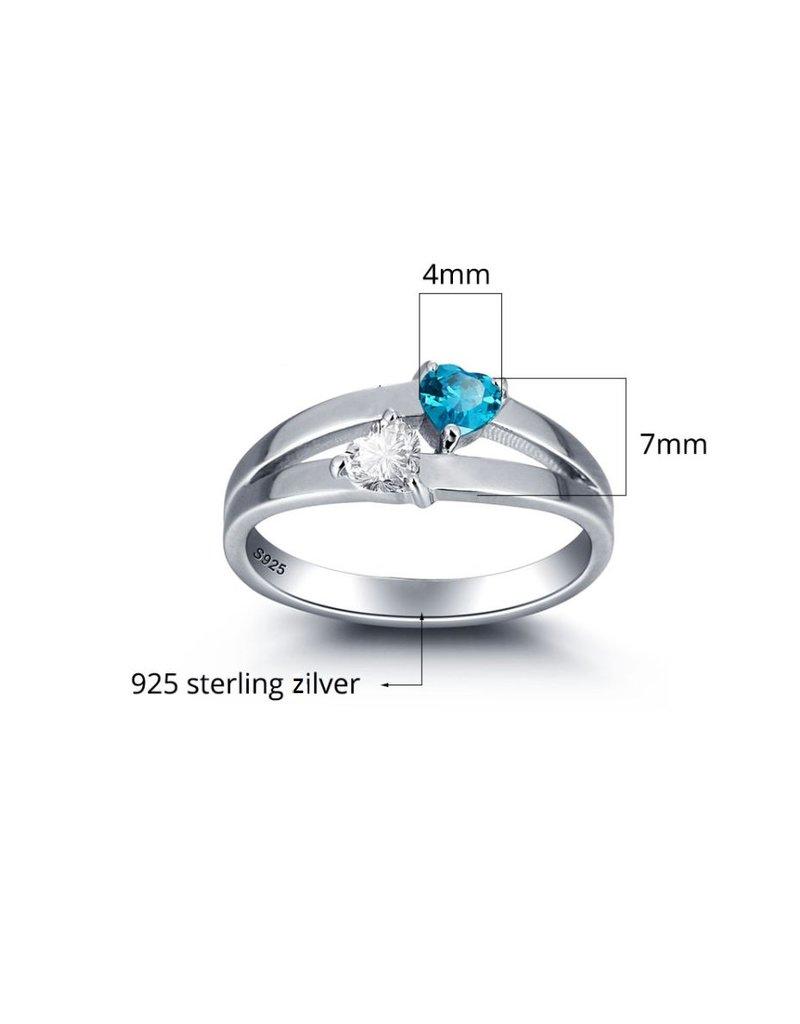 KAYA sieraden Zilveren ring met 2 geboortestenen 'double hearts'