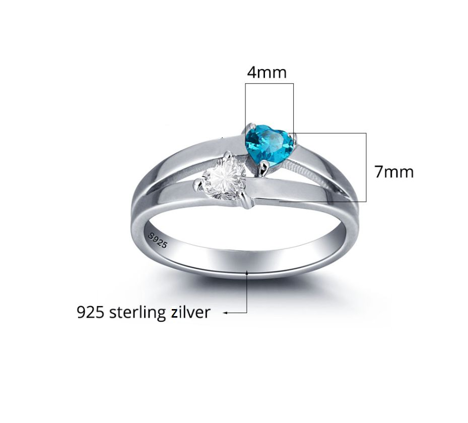 Silver ring with 2 birth stones 'double hearts'
