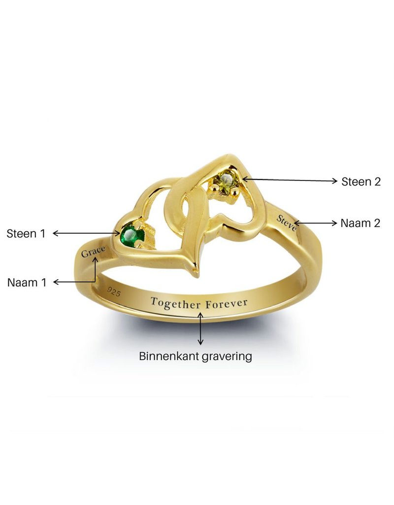 KAYA sieraden Verguld Gouden Ring 'verstrengelde hartjes'