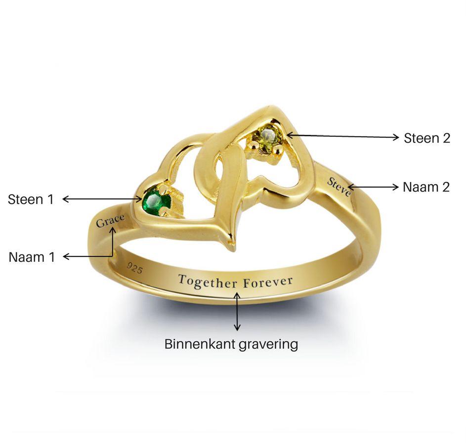 KAYA sieraden Gilded Gold Ring '2 + 2 names birthstones' - Copy