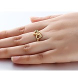 Gilded Gold Ring '2 + 2 names birthstones' - Copy