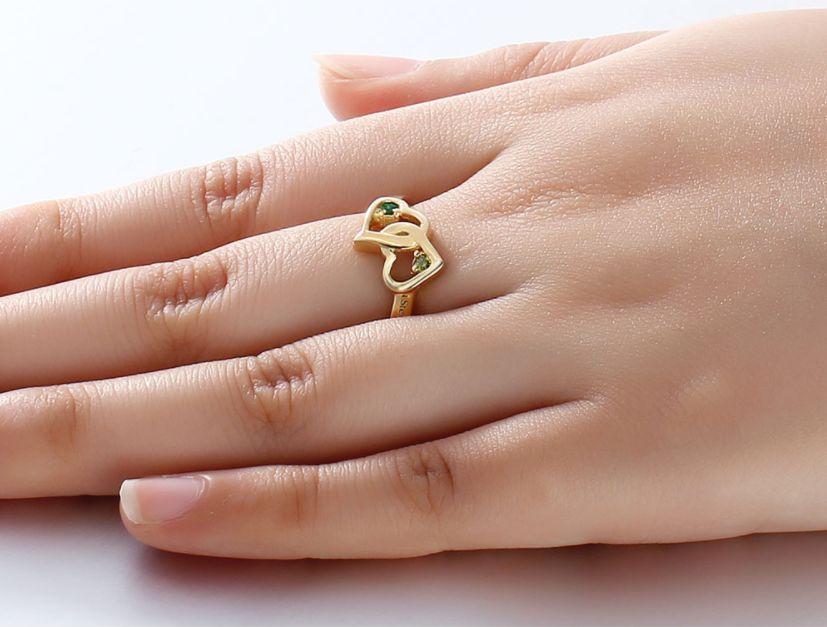 Verguld Gouden Ring 'verstrengelde hartjes'