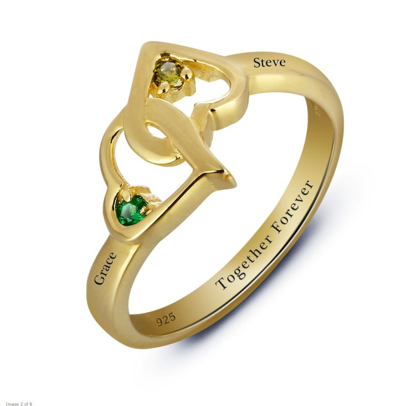 sieraden Gilded Gold Ring \'2 + 2 names birthstones\' -