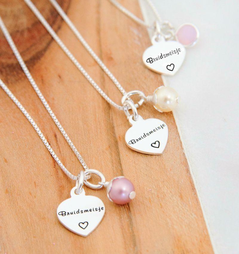 "Silver Necklace ""Sweet Bridesmaid '"