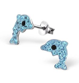 KAYA sieraden Silver earrings 'crystal dolphins'