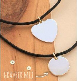 KAYA sieraden Leren koord met zilveren bedel 'Personaliseer'