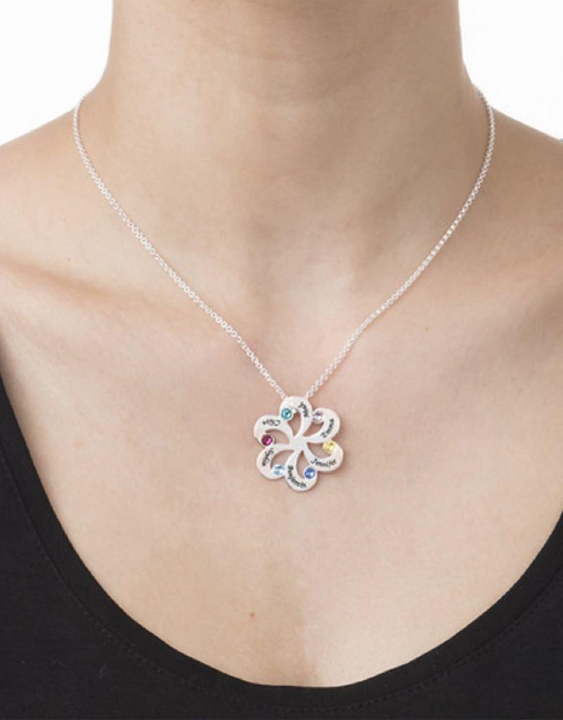 Geboortestenen ketting zilver 'familie bloem'