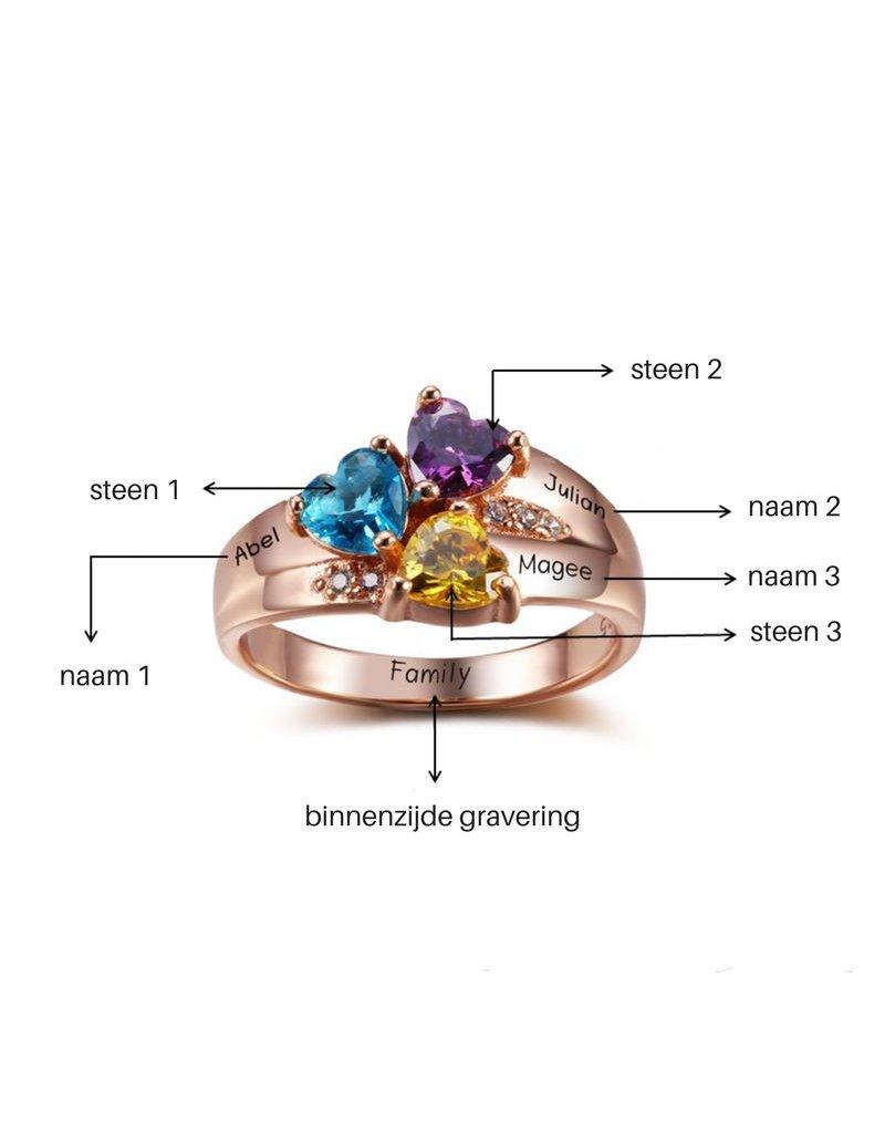 KAYA sieraden Personalized ring with birthstones '3 kids'