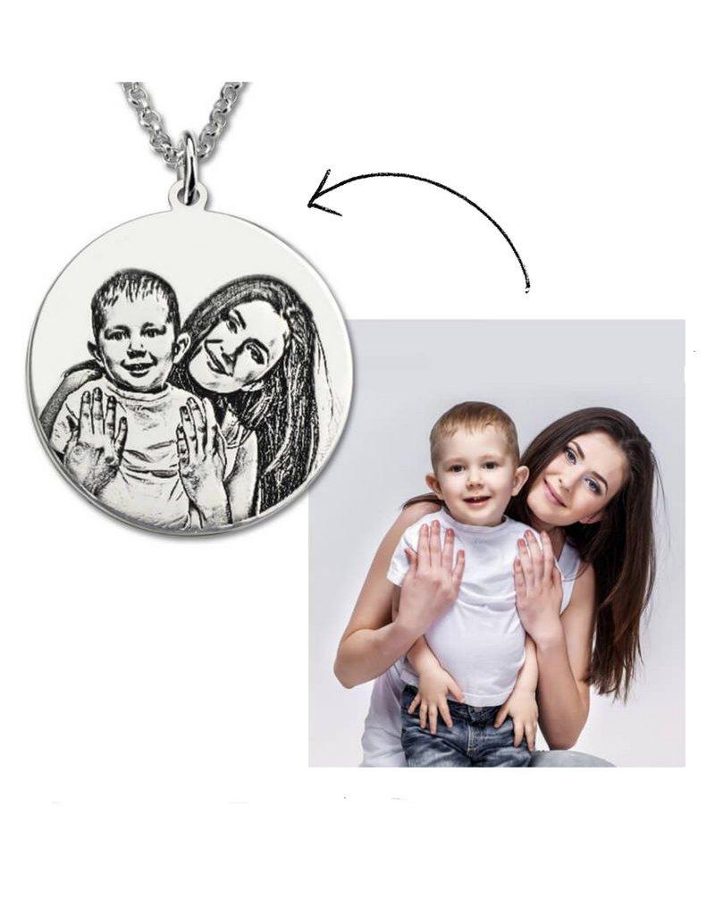 Zilveren ketting met foto 'circle'