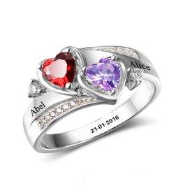 KAYA sieraden Ring met twee geboortestenen 'double hearts'