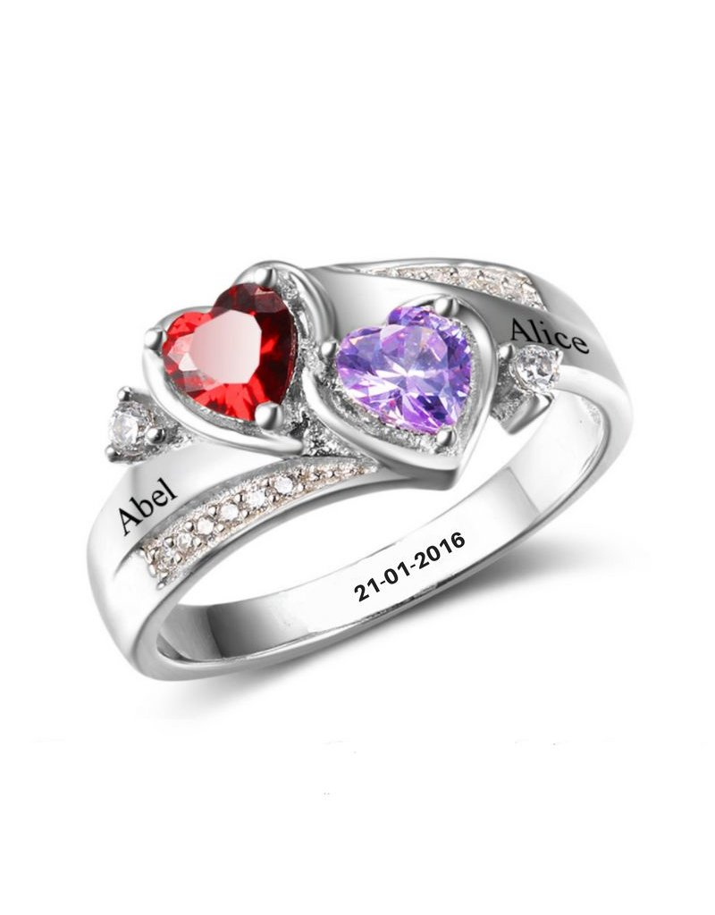 KAYA sieraden Silver ring with two birth stones 'close to my heart' - Copy