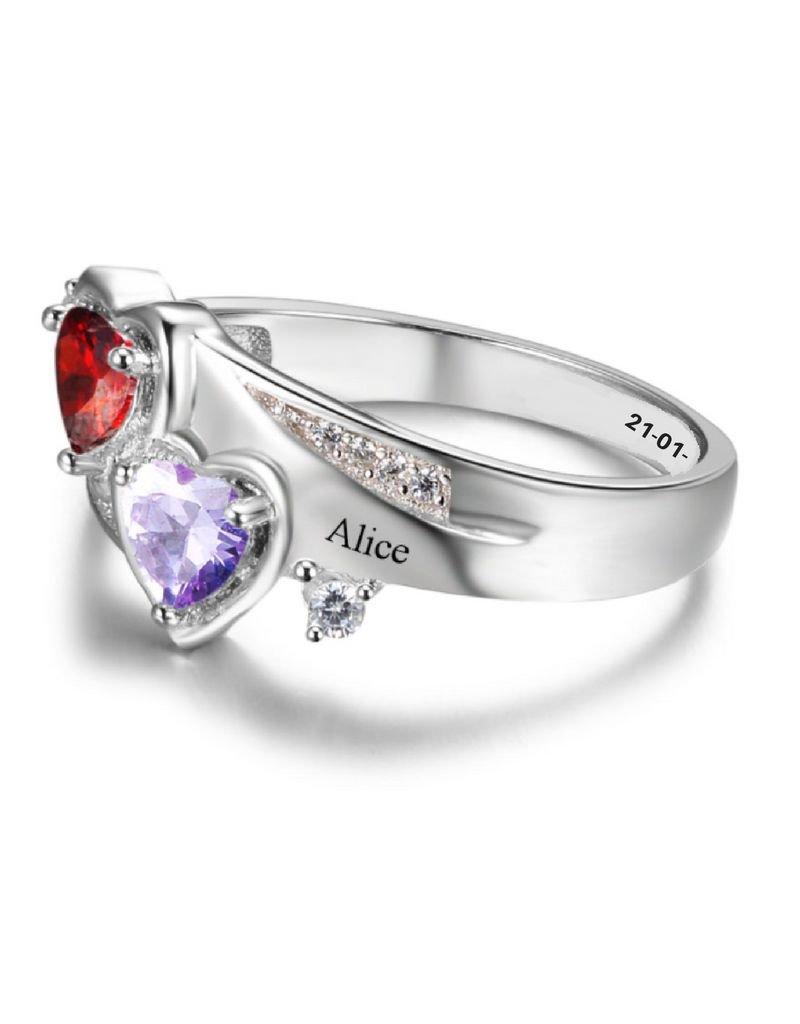 KAYA sieraden Ring met twee geboortestenen 'double hears'