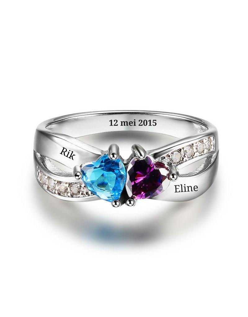 KAYA sieraden Ring met twee geboortestenen 'liefde'