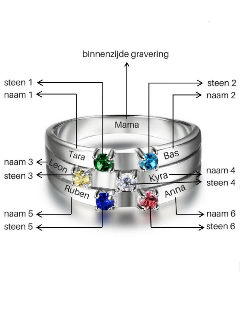 KAYA sieraden Call with 5 birth stones 'family' - Copy