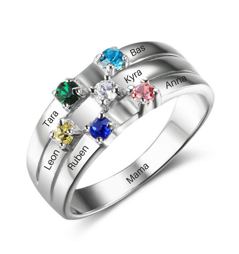 KAYA sieraden Ring met 6 geboortestenen 'family'