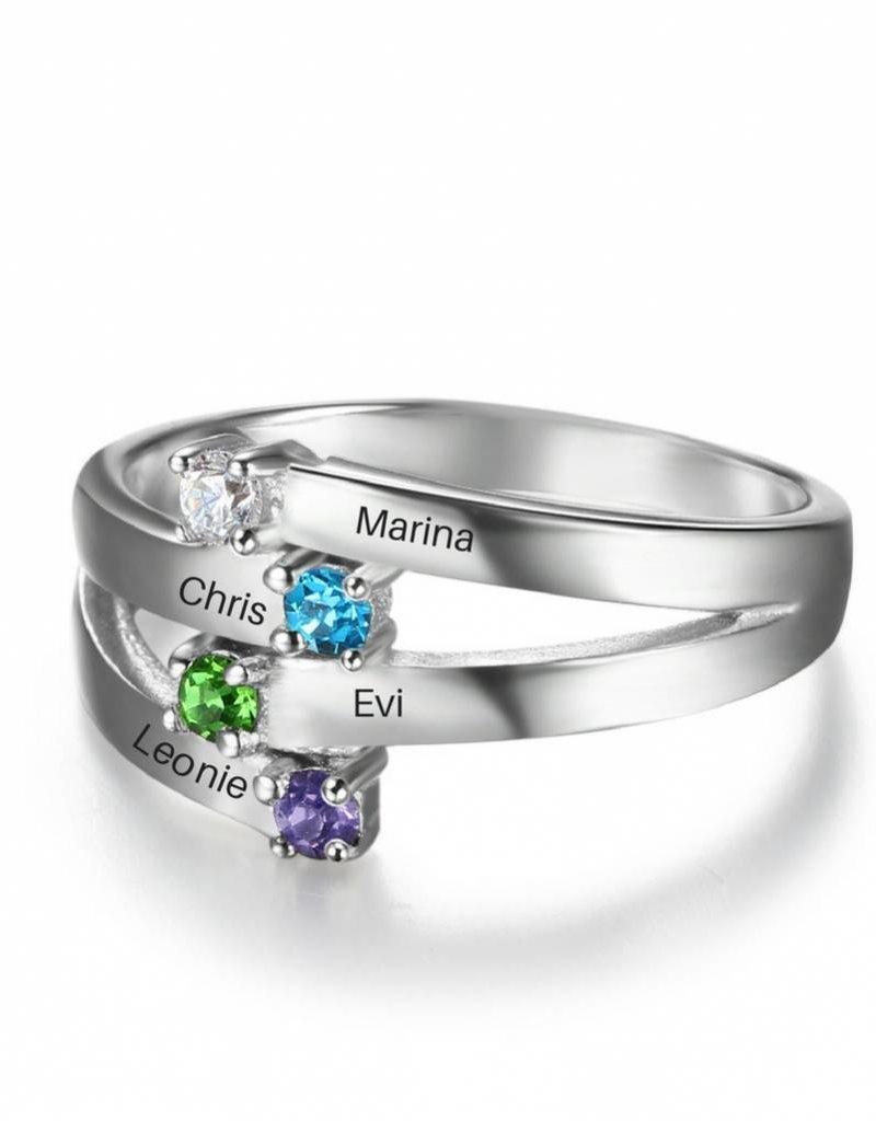 KAYA sieraden Ring met vier geboortestenen