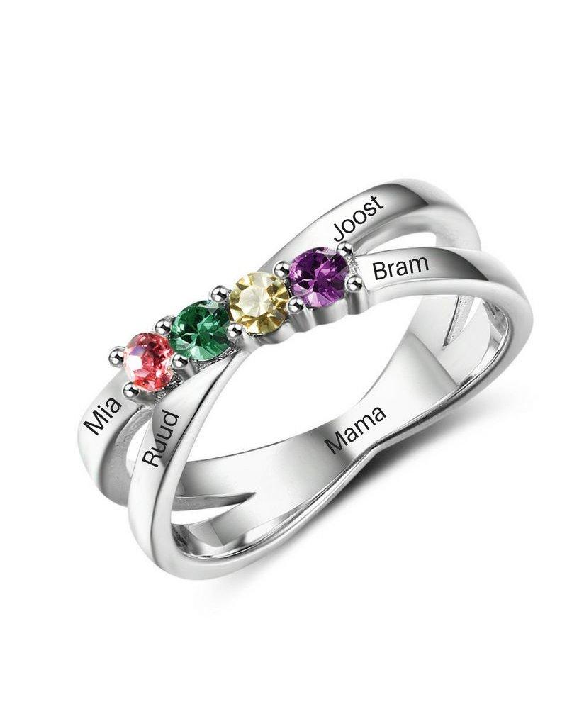 KAYA sieraden gepersonaliseerde ring met geboortestenen '4 in a row'