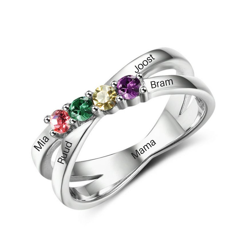 KAYA sieraden Personalized ring with birth stones '4 in a row'
