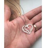 KAYA sieraden Zilveren Ketting 'Hartvorm met 2 geboortestenen'