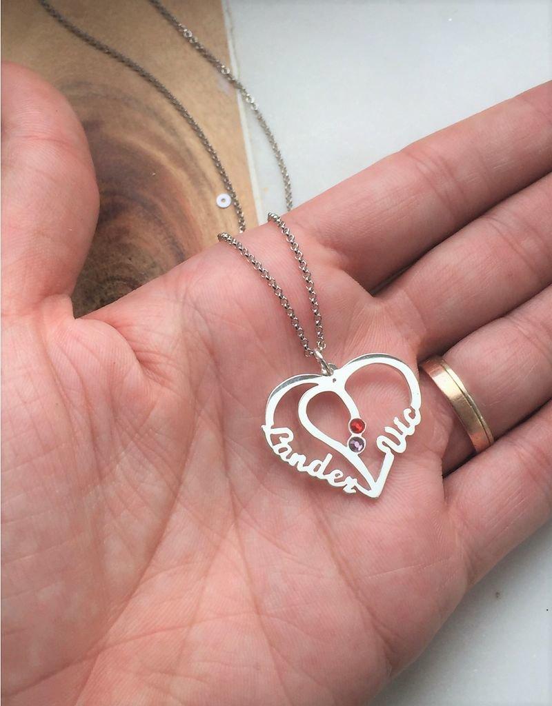 Zilveren Ketting 'Hartvorm met 2 geboortestenen'