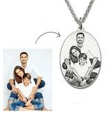 KAYA sieraden Zilveren ketting met foto 'ovaal'