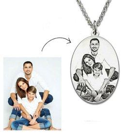 Zilveren ketting met foto 'ovaal'