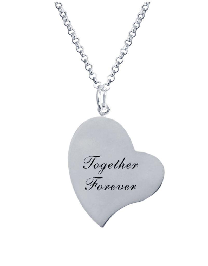 Zilveren ketting met foto 'hart'