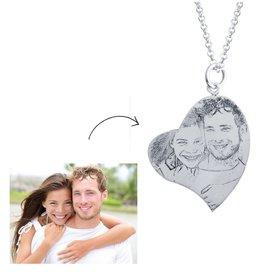 KAYA sieraden Zilveren ketting met foto 'hart'