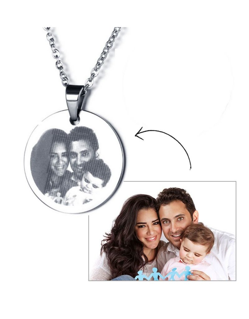 KAYA sieraden Necklace with photo 'circle' - stainless steel