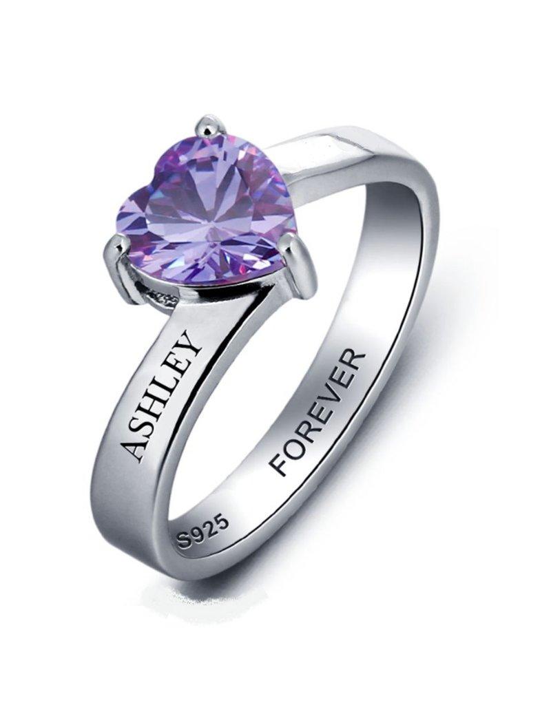 KAYA sieraden Ring met 1 geboortesteen 'Cute Heart'