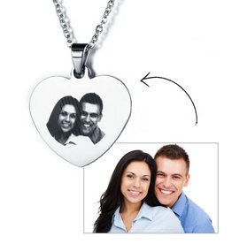 Necklace with photo 'heart' - stainless steel