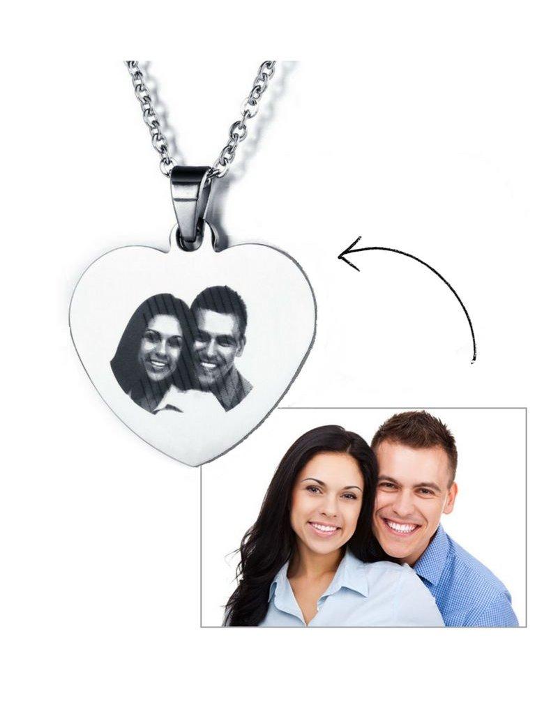 KAYA sieraden Ketting met foto 'heart' - stainless steel