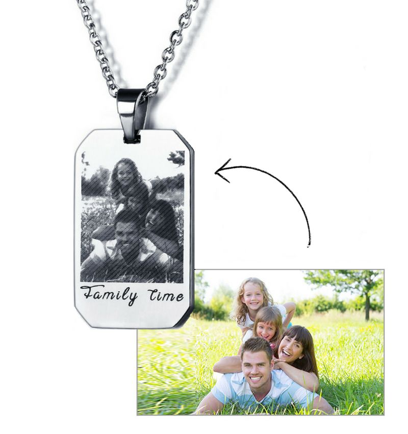 Necklace with photo and text - stainless steel