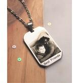 KAYA sieraden Ketting met foto en tekst - stainless steel