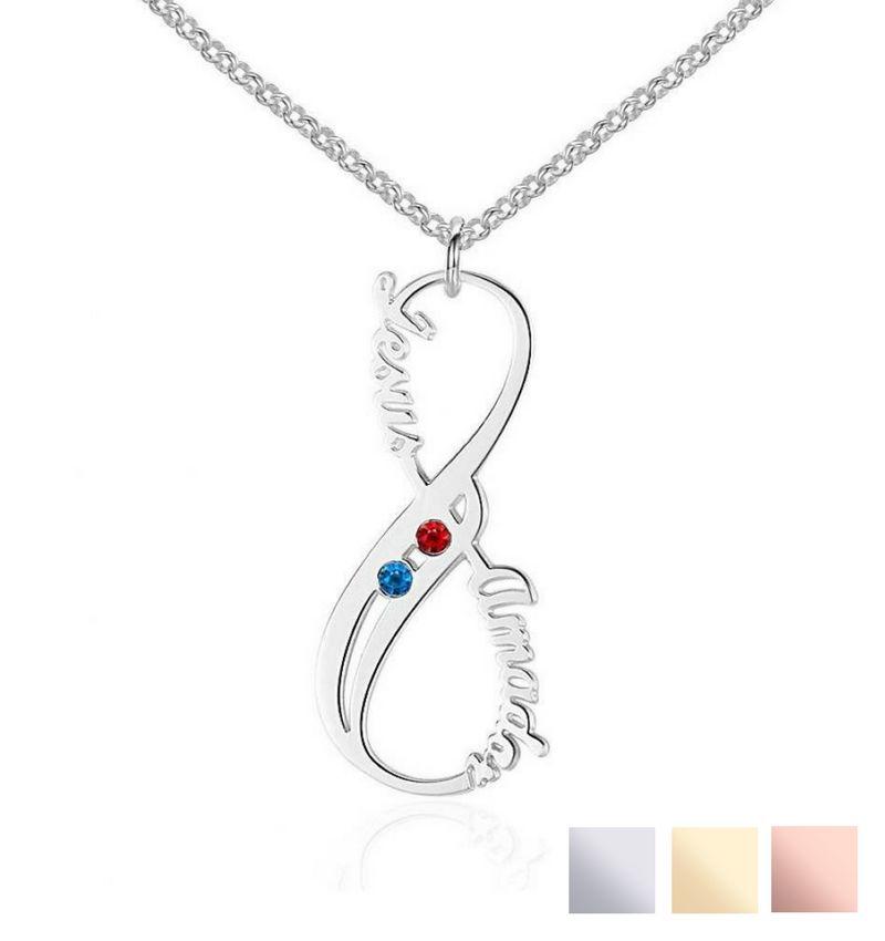 KAYA sieraden Silver Necklace 'Swarovski Birthstones two hearts' - Copy