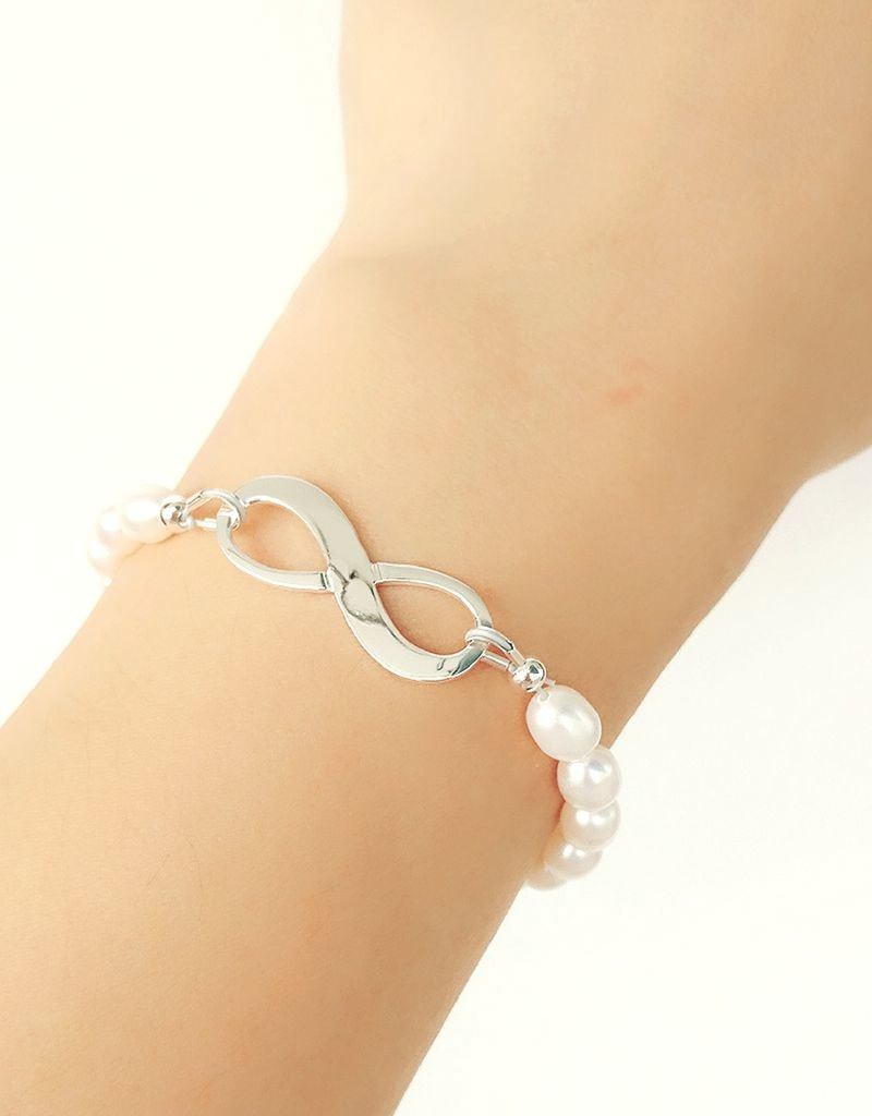 Infinity Bracelet silver 'forever' with Pearl - Copy