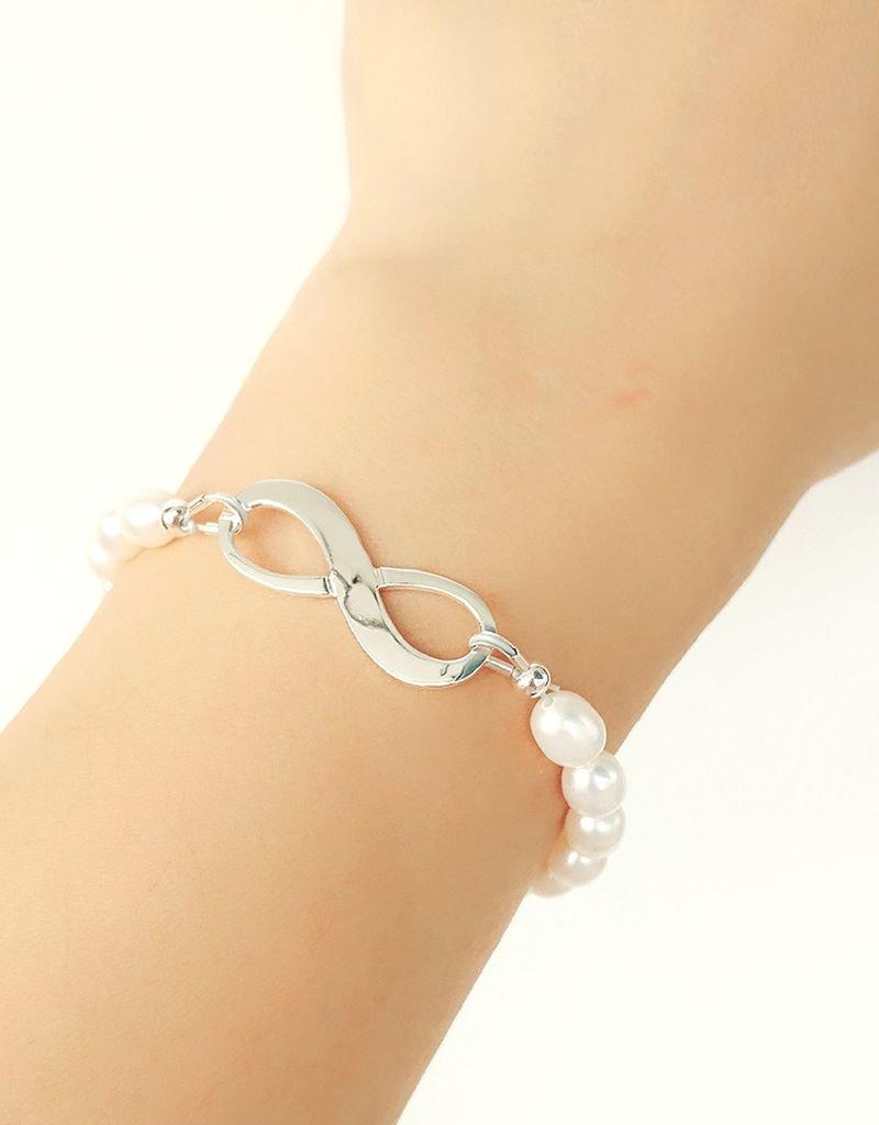 KAYA sieraden Zilveren Parelarmband 'Infinite Love'