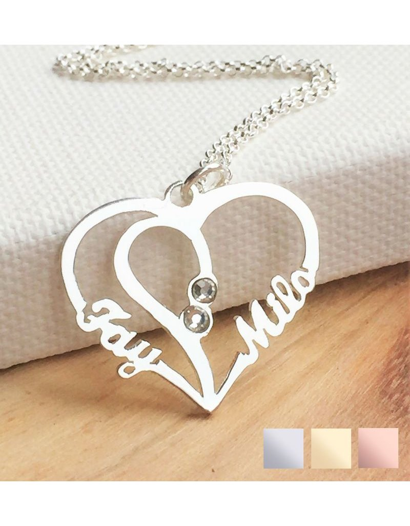 KAYA sieraden Silver Necklace 'Heart Shape with two birthstones'