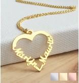 Zilveren hartvormige ketting '2 namen'