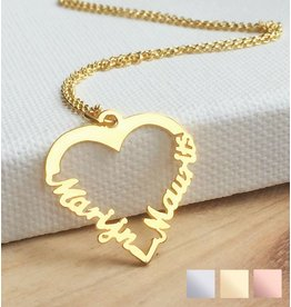 "Silver heart-shaped necklace ""2 names'"