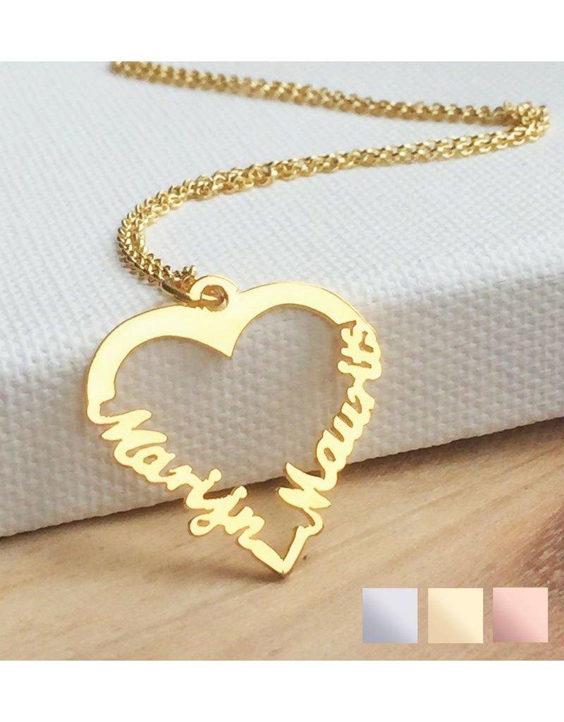 "KAYA sieraden Silver heart-shaped necklace ""2 names'"