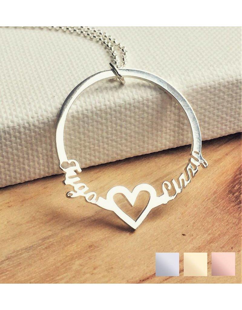 KAYA sieraden Necklace with 2 names 'circle'