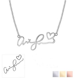 Necklace with own handwriting