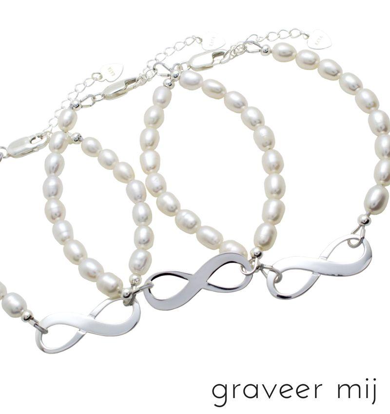 KAYA sieraden Infinity Bracelet silver 'forever' with Pearl - Copy - Copy - Copy