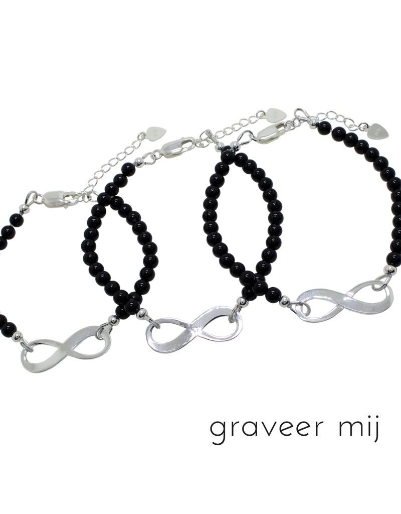 KAYA sieraden Silver 3 Generation Onyx Bracelets 'Infinite Love'
