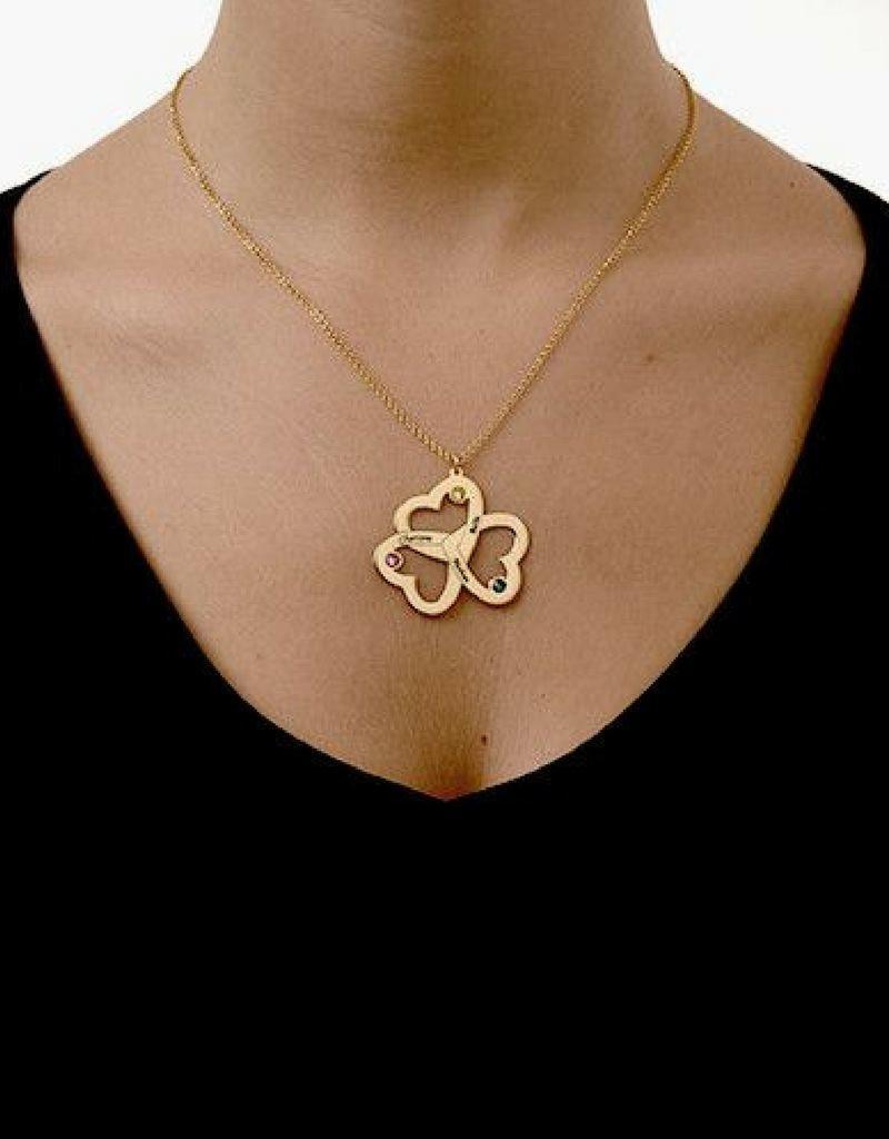 KAYA sieraden Ketting met 3 geboortestenen 'hearts'
