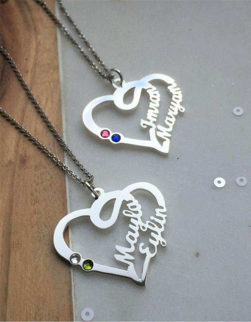 KAYA sieraden Hartvormige ketting met 2 geboortestenen