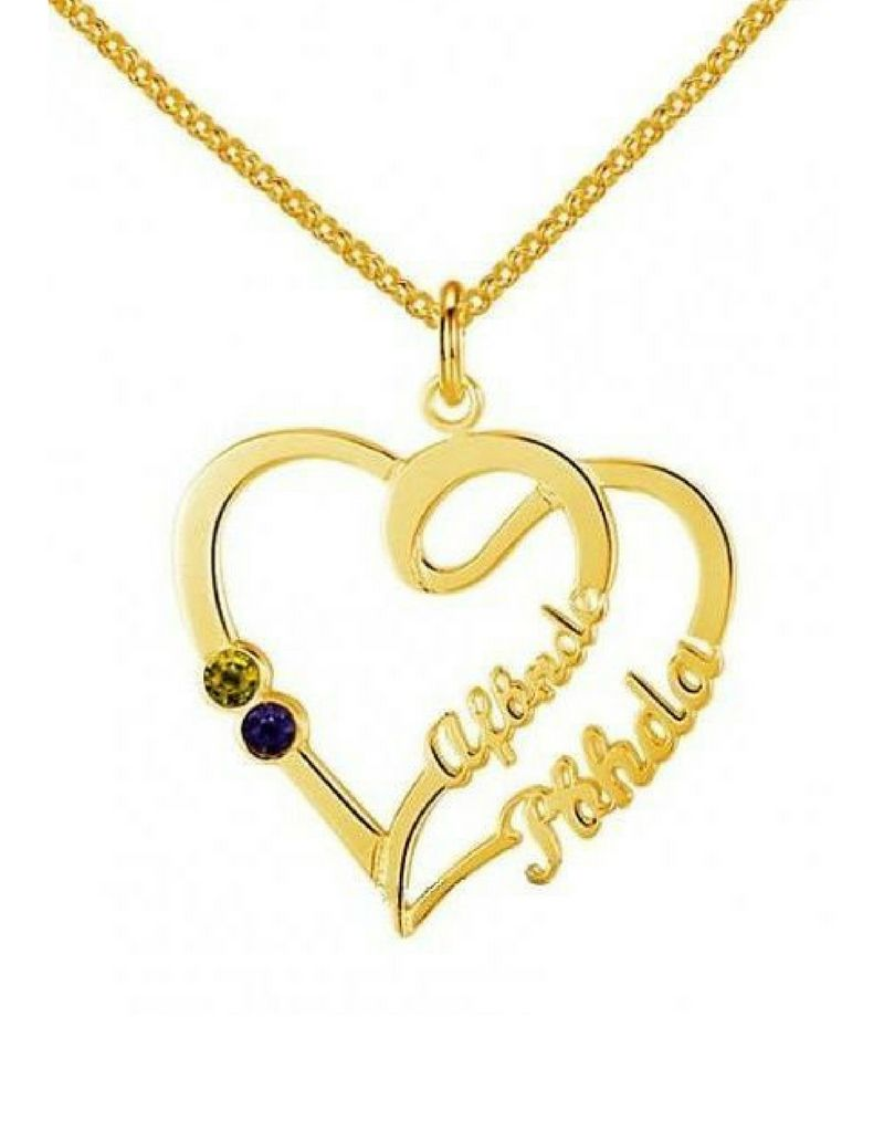 Gold Necklace 'Heart With 2 Birth Stones'