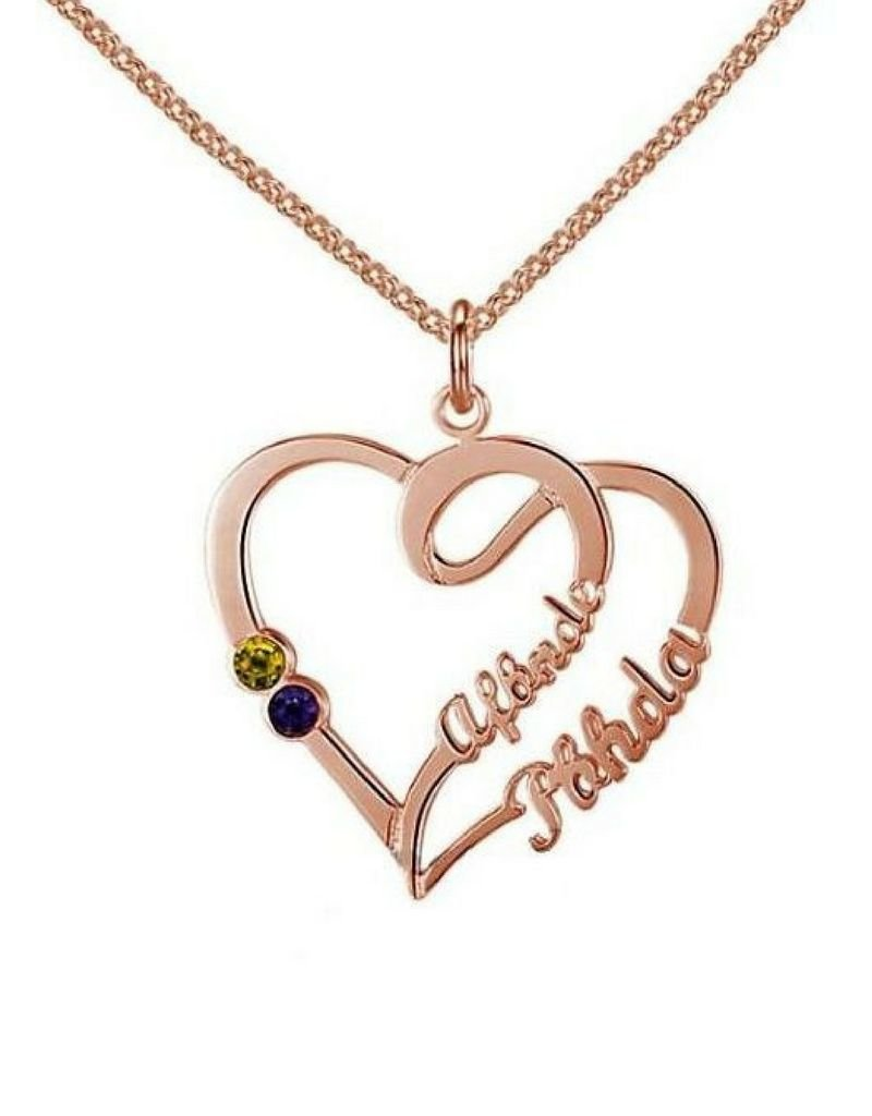 KAYA sieraden Gold Necklace 'Heart With 2 Birth Stones'