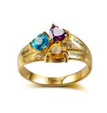 KAYA sieraden Personalized ring with birthstones '3 kids'